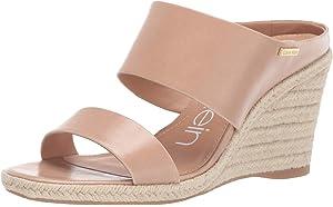 Calvin Klein Women's Brinlee Wedge Sandal, Platinum White