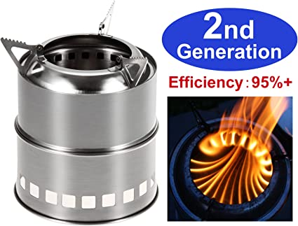 Camping Stove Stainless Steel Backpacking Portable Wood Burning Hike Camp BBQ US