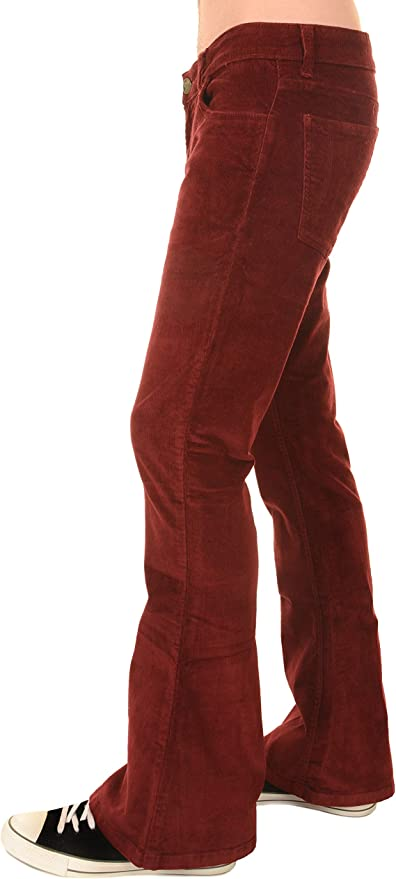 Hippie Pants, Jeans, Bell Bottoms, Palazzo, Yoga Run & Fly Mens 70s Retro Vintage Wine Stretch Corduroy Bell Bottom Flares $54.95 AT vintagedancer.com