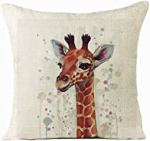Auwer Xmas Christmas Elk Cotton Linen Pillow Case Cushion Cover Sofa Waist Throw Bed Chair Pillowcase Festival Home...