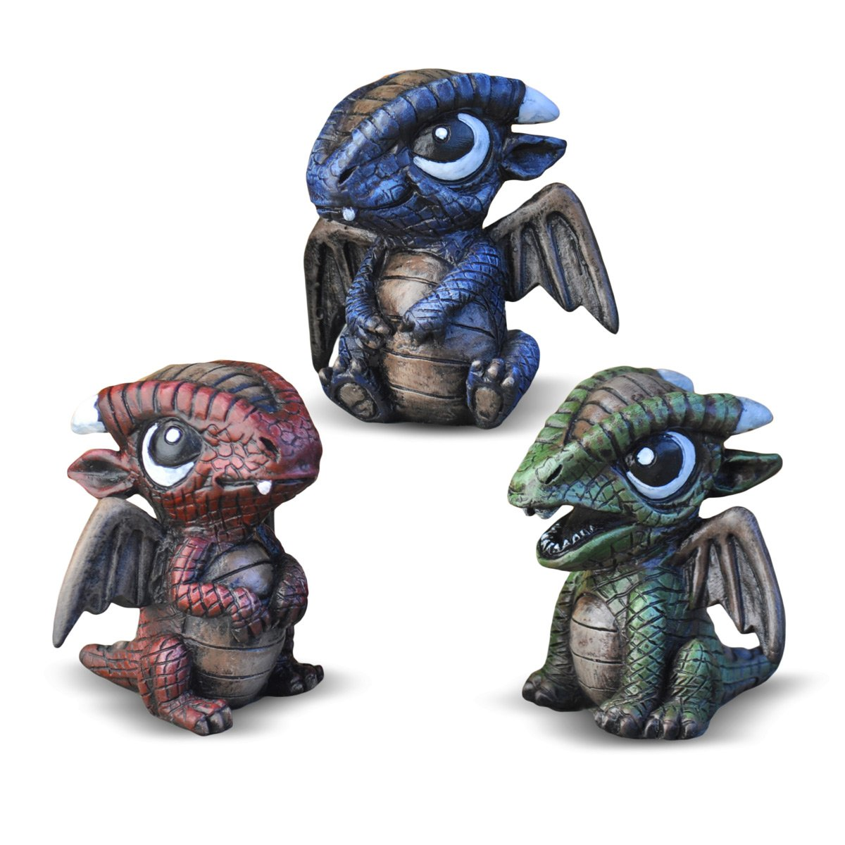 Georgetown Home & Garden Miniature Baby Dragons Assorted Garden Decor, Set of 3