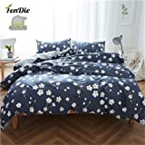 FenDie 3 Piece Duvet Cover Full Bedding Sets Floral Pattern Daisy Printed Comforter Cover Queen 2 Pillow Shams Navy Blue Reversible Striped