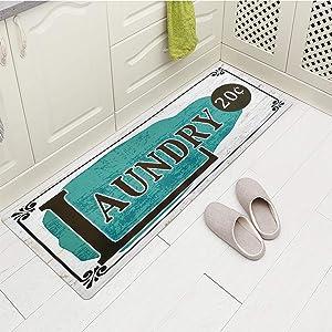 "USTIDE Laundry Room Rug Runner Non Slip Natural Rubber Water-Absorbing Kitchen Rug Floor Mat Inside Doormat (20""x59"")"