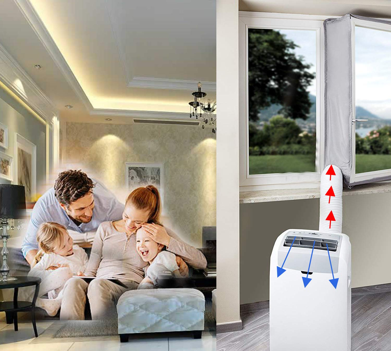 Window Seal for Portable Air Conditioner and Tumble Dryer,Window Venting for Mobile Air Conditioner Exchange Hot Air stop From the Outside Entering Room Air conditioner Exhaust No Need Drilling Hose