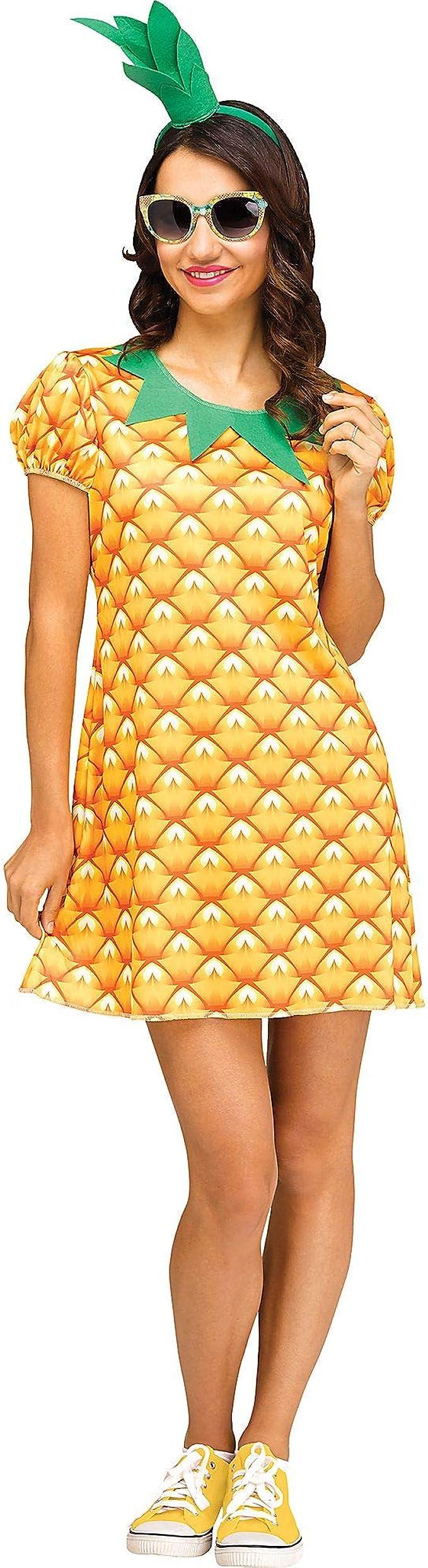 60s Costumes: Hippie, Go Go Dancer, Flower Child, Mod Style Fun World Womens Cute Pineapple Costume  AT vintagedancer.com