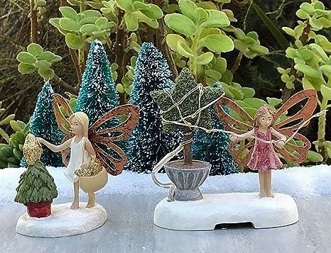 Juego de 2 figuras en miniatura de hada para jardín, vacaciones, Navidad, con luz en árbol: Amazon.es: Juguetes y juegos