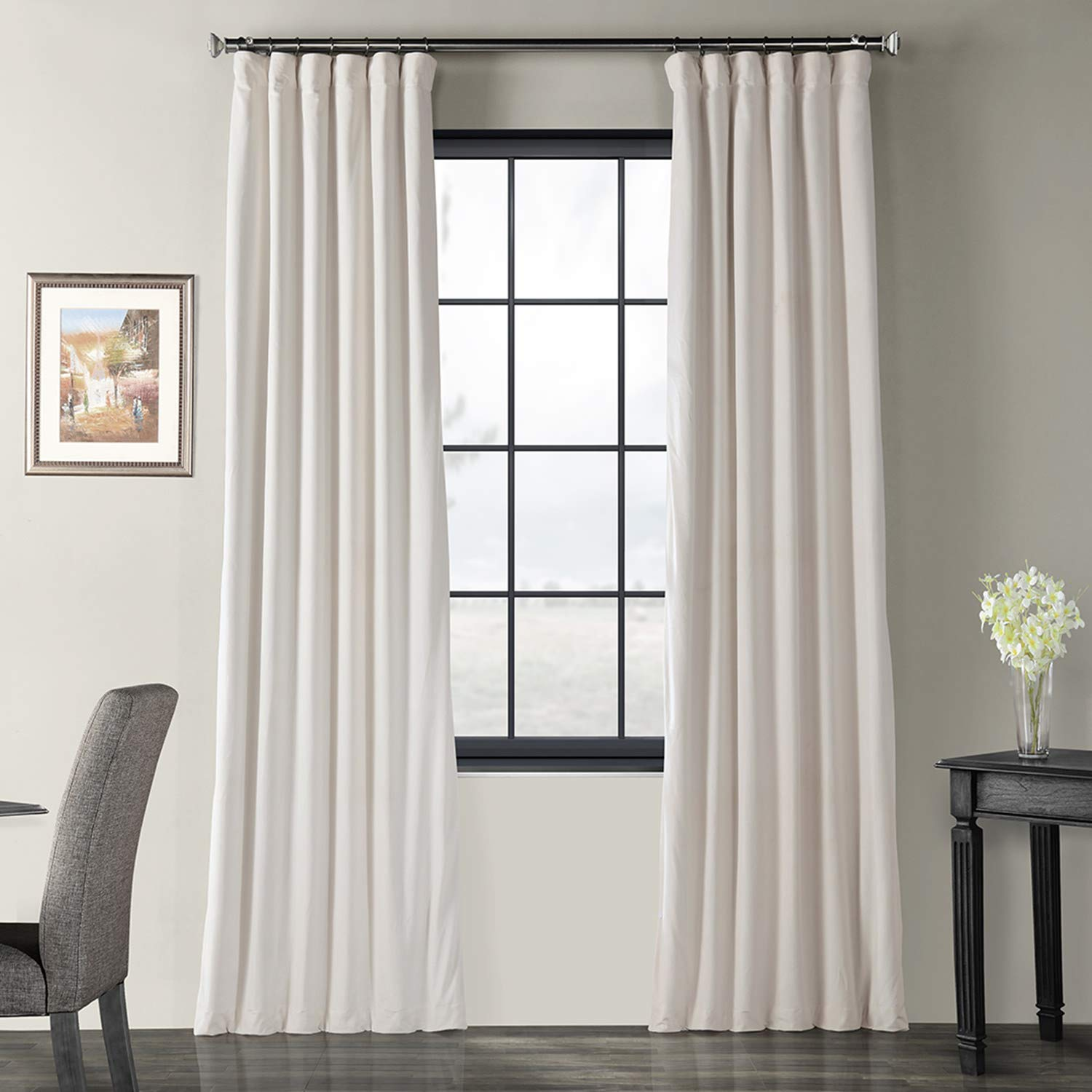 Ivory 50 X 108 VPCH-160405-96 Signature Blackout Velvet Curtain,Cool Beige,50 X 96