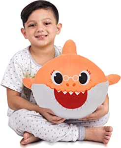 Franco Kids Bedding Super Soft Plush Snuggle Cuddle Pillow, One Size, Grandma Shark Orange