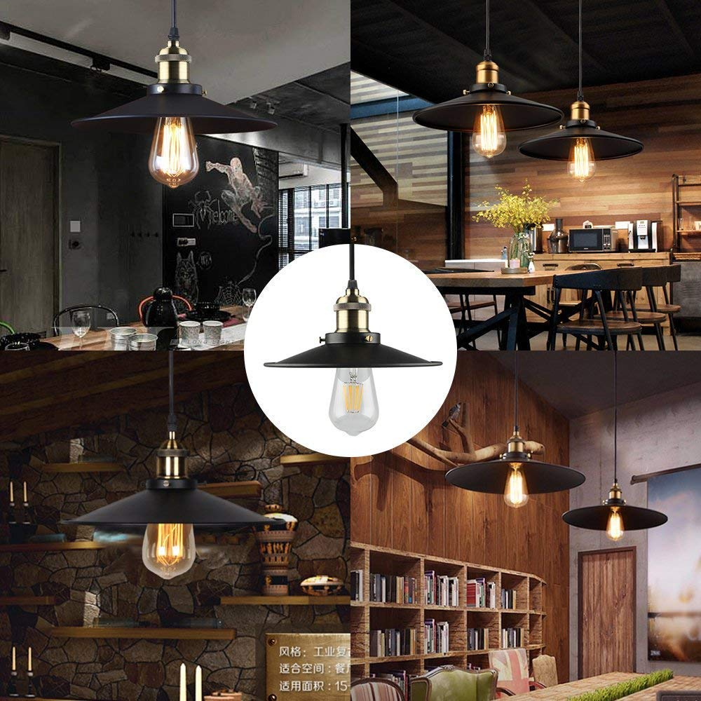 B2ocled Metal Light Pendant Fixture Edison Industrial Lighting Ceiling Hanging Lamp(diameter 10.25\'\') for Restaurant and Kitchen.(The bulb not included)