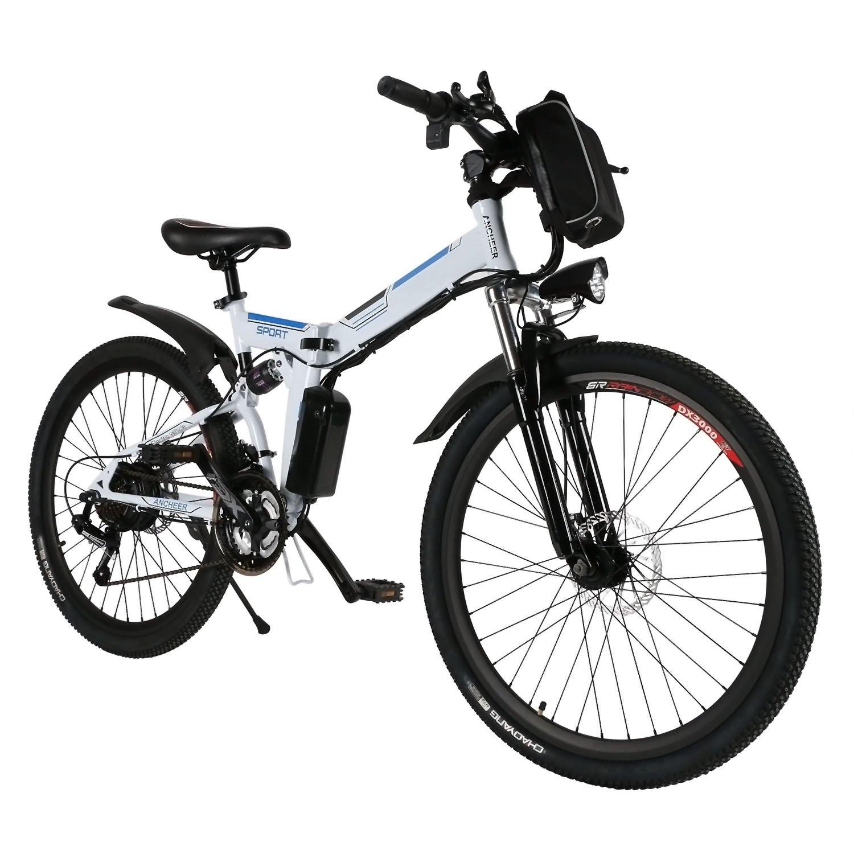 折り畳み式電動マウンテンバイク 26インチホイール 取り外し可能なリチウムイオンバッテリー (36V 250W) 3速 交換可能 E-バイク 【米国在庫】  ホワイト B073H448GS