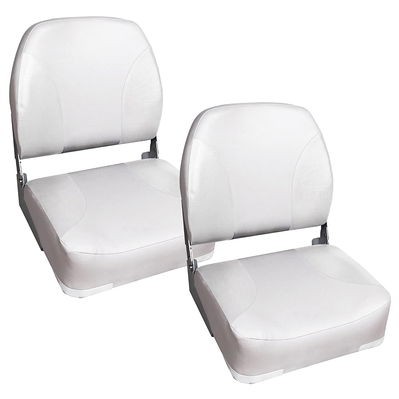 [pro.tec] 2x Bootssitz / Kapitänsstuhl aus wasserfestem Kunstleder / UV- beständig (weiß) [pro.tec]®