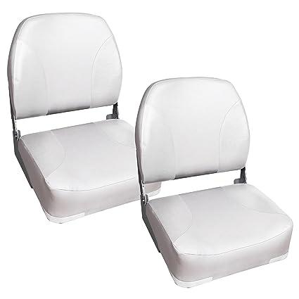 [Pro.tec] 2x asientos de barco / de cabina - de piel sintética, resistente al agua / tapizados / Resistente a rayos UVA / plegables (blanco)