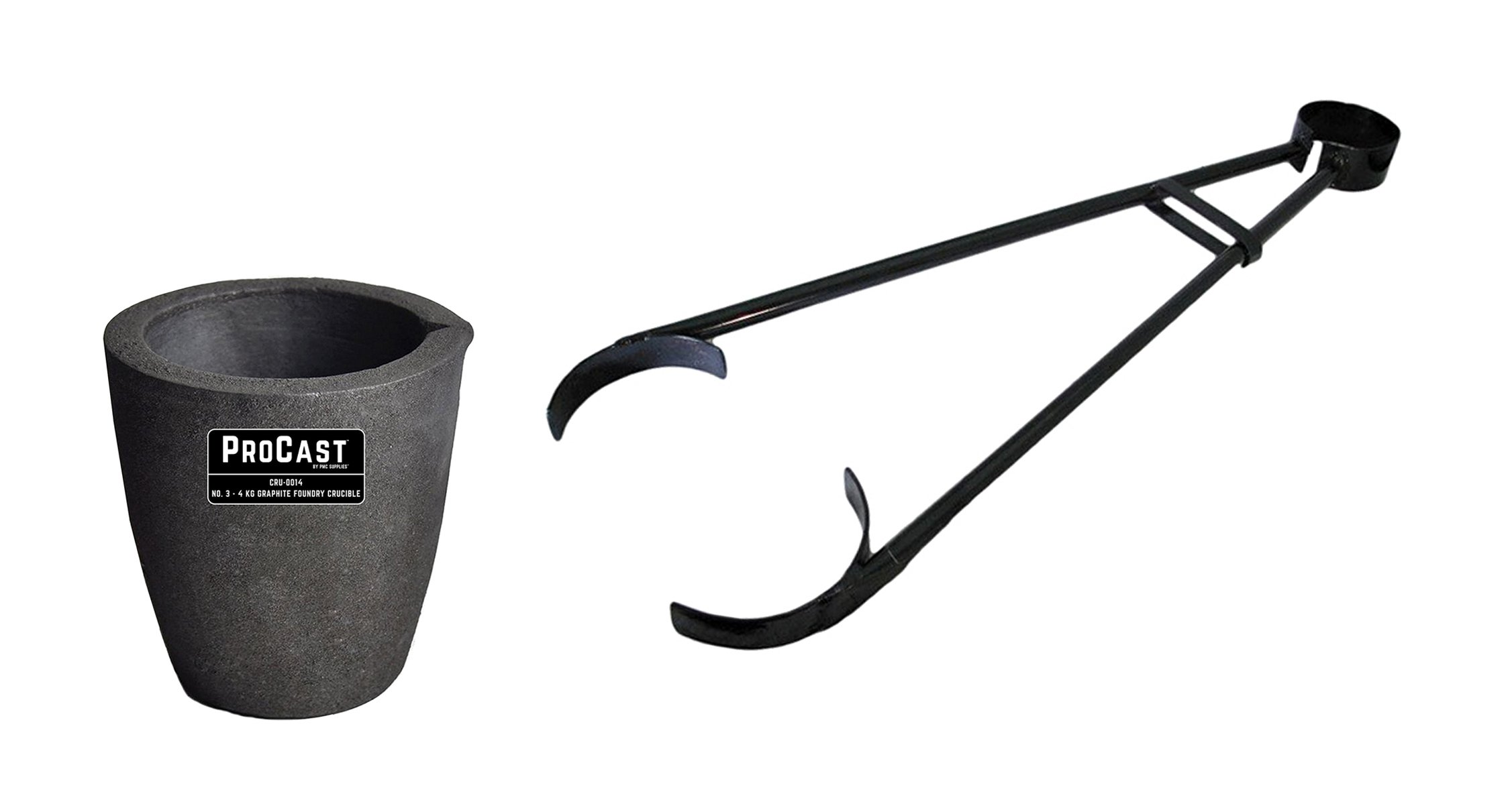 #3-4 Kg Clay Graphite Foundry Crucible Kit w/ 26'' Foundry Crucible Flask Tongs Gold Silver Metal Refining Casting Tool by PMC Supplies LLC
