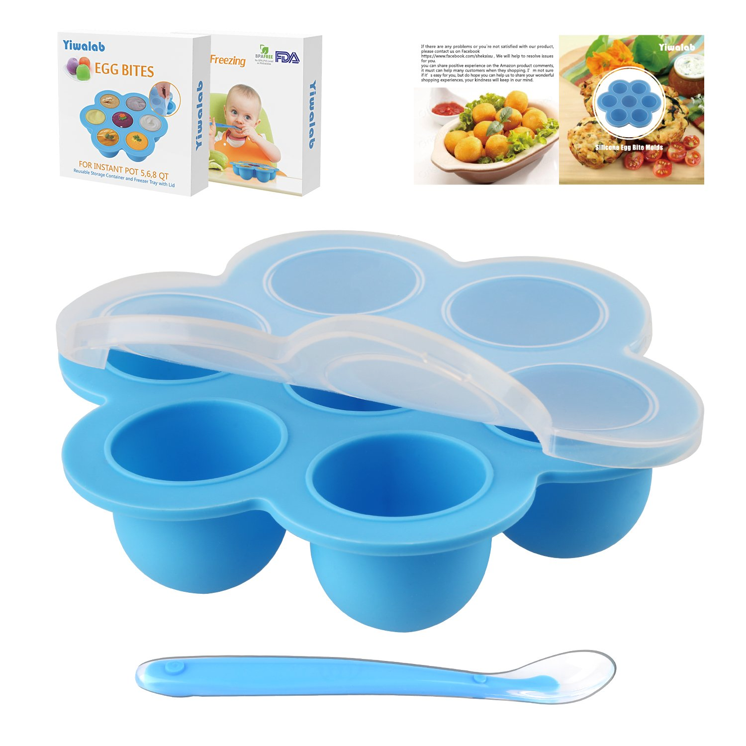 Yiwalab Silicone Egg Bite Molds Baby Food Storage Containers