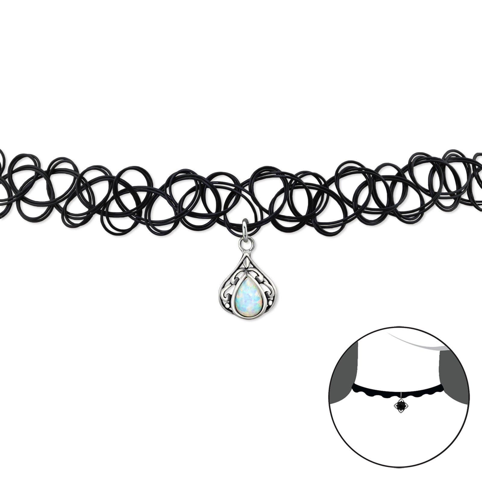 Atik Jewelry Silver Teardrop Choker with Opal - Fire Snow
