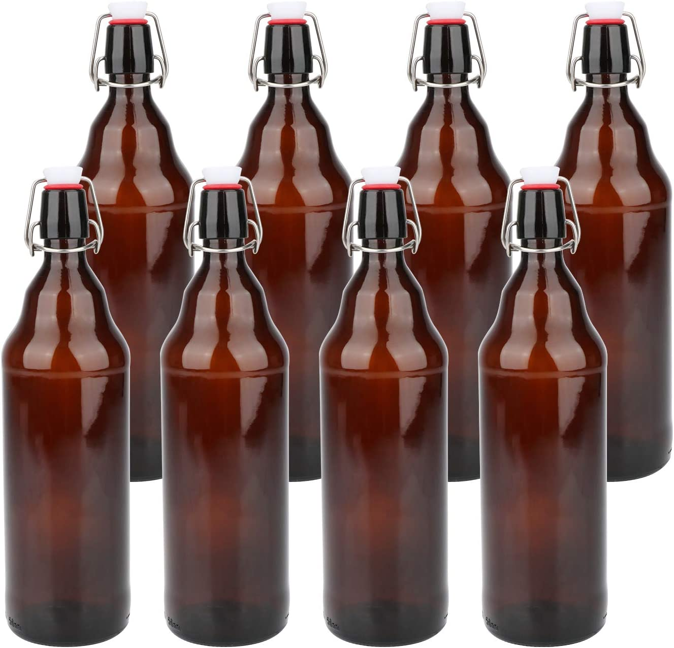 Glass Bottles, COMUDOT Refillable Brown Glass Storage Bottle with Swing Top Lids, Amber Iron Clasp Bottles with Stickers&Pen for Home Brewing, Drinks, Sauces, Industrial products, etc (1000ML, 8 PCS)