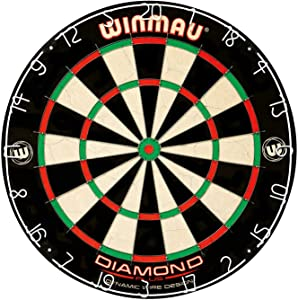Winmau Diamond Plus Tournament Bristle Dartboard with Staple-Free Bullseye for Higher Scores and Fewer Bounce-Outs (Twо Расk)