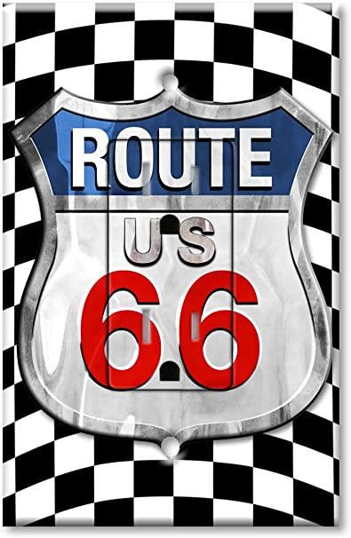 Printed Electrical Outlet With Matching Wall Plate Checkered Flag Route 66