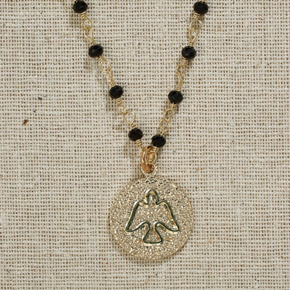 Set of 3 Vintage Blessings II. Dove Necklace on Black Bead Chain