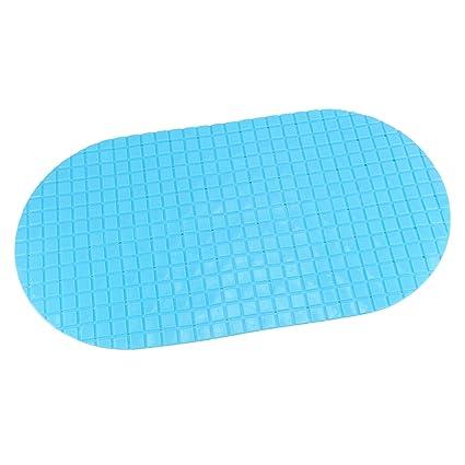 HOKIPO® Rectangular Non-Slip Bathroom PVC Shower Mat,1 Piece (Blue)