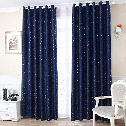 pureaqu Romantic Starry Star Blackout Curtains Silver Star Thermal  Insulated Curtains for Baby Boys Children Bedroom Grommet Top Drapes for  Living ...