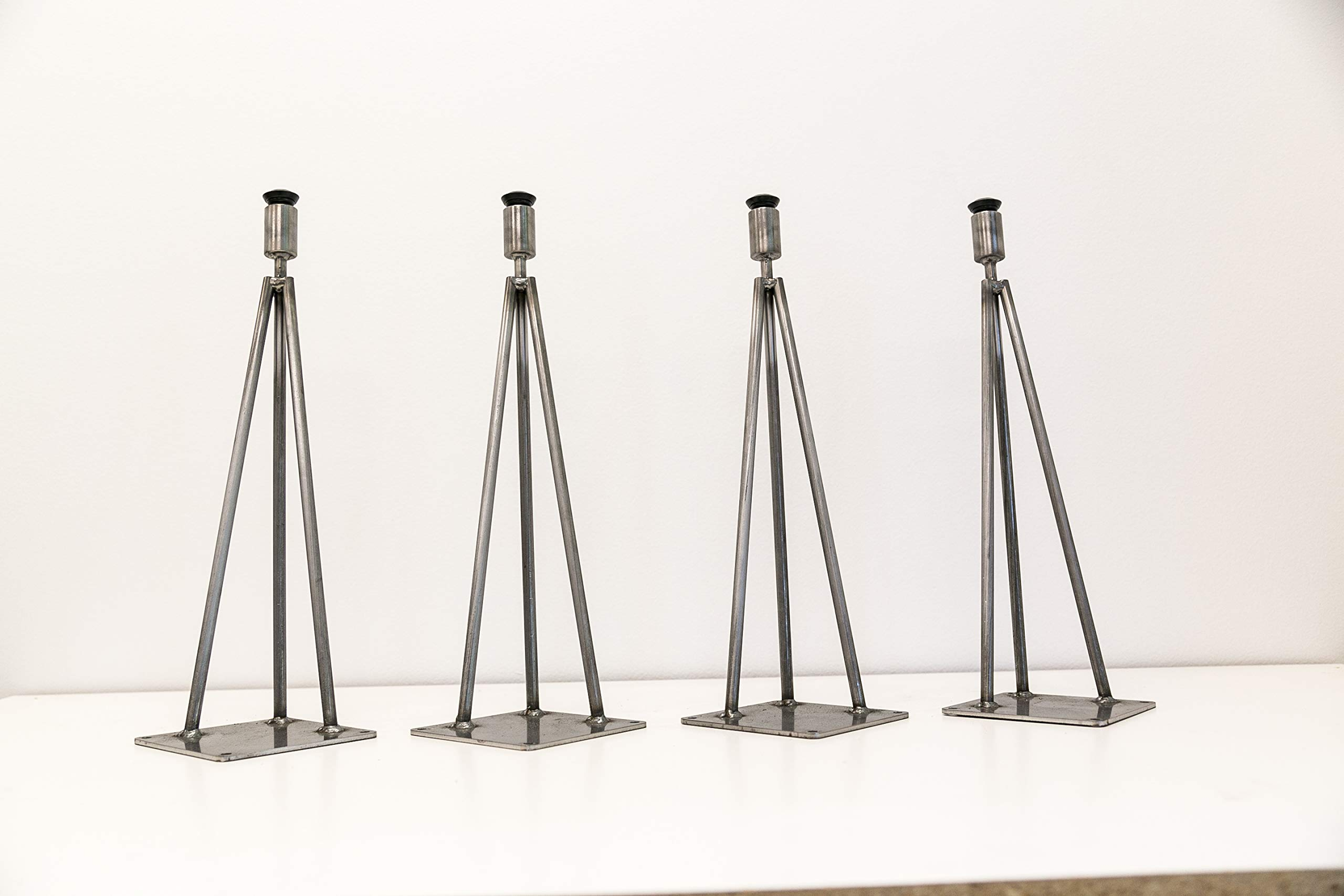 Barn XO Hairpin Leg, Metal Table Leg Set of (4),Modern Industrial, 3-Rod Hairpin Leveling Legs (18''H Bench/Coffee, Clear Matte) by Barn XO