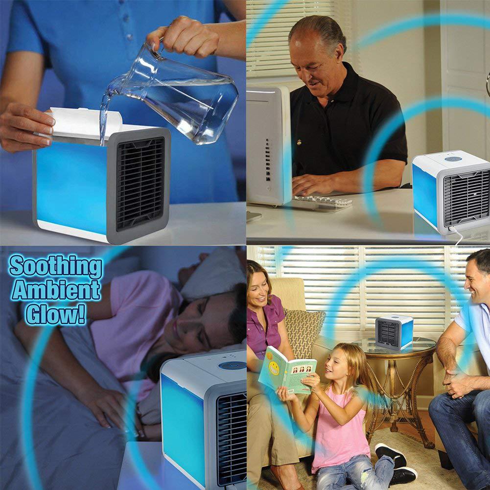 Purificador Noche 7 Colores Desktop Cooling Fan SJZX 3 In 1 USB Portable Air Conditioner Personal Air Cooler,Humidificador