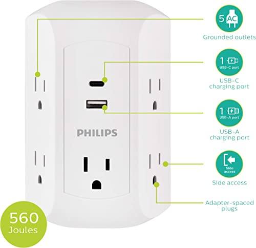 Philips 15W USB-C Surge Protector Adapter, 5 Outlet Wall Tap, for iPhone 11 Max XS XR X 8, iPad Pro Air Mini, Samsung Galaxy, Google Pixel, 17W Total Power, White, SPP5252WC 37, 1 Pack