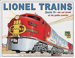 "Desperate Enterprises Lionel Trains Santa Fe Tin Sign, 16"" W x 12.5"" H"