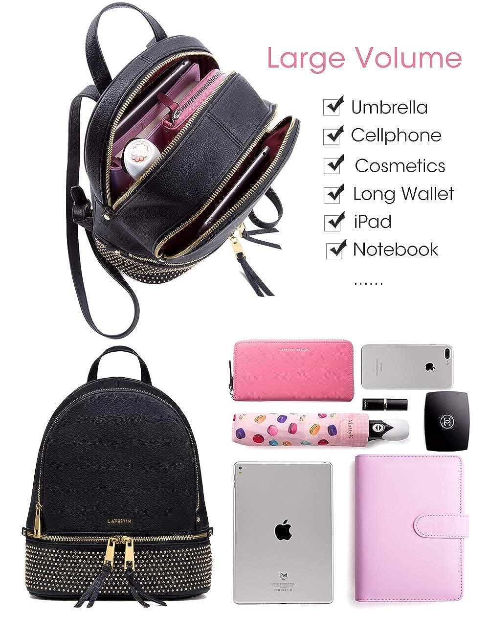 908b57ea14 Amazon.com  LA FESTIN Women s Leather Shoulder Backpacks Stylish Travel  Rucksack Black  Shoes