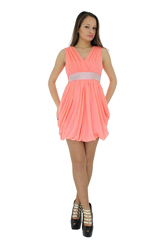 Hadabella Vestido Mujer Corto Drapeado Color Salmon Amazon