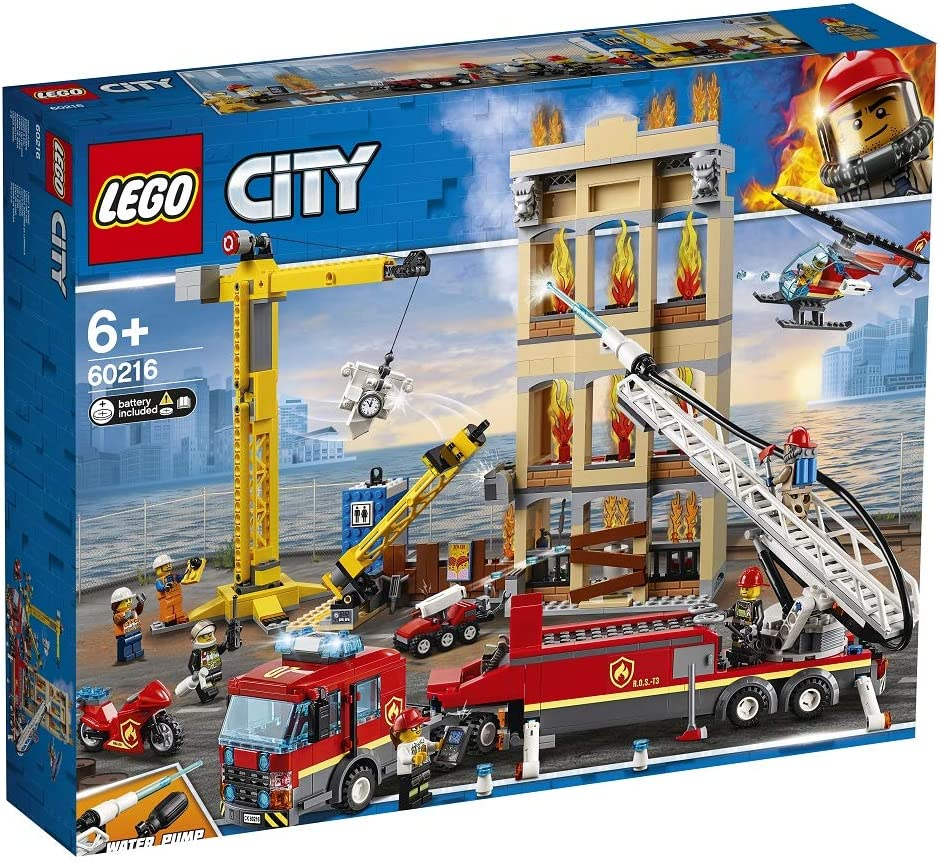 LEGO City Downtown Fire Brigade Building Set, Toy Helicopter & Fire Truck, Firefighter Toys for Kids