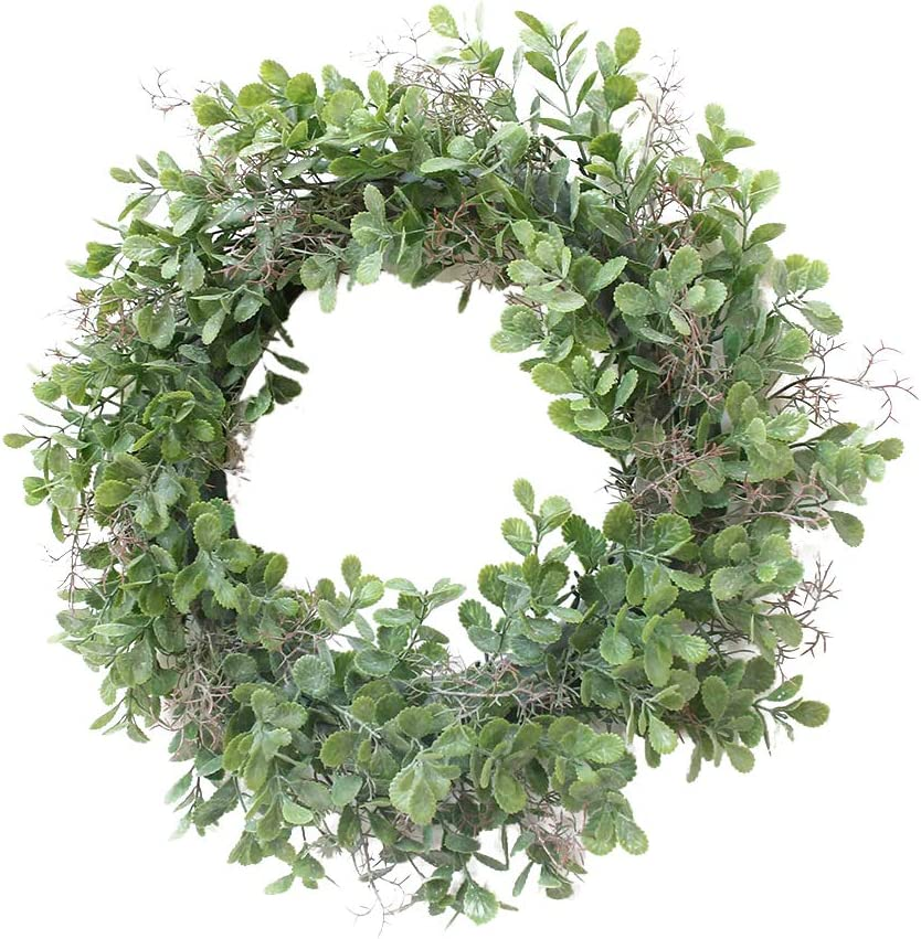 Adeeing Front Door Wreath Artificial Greenery Wreath Farmhouse Garland for Home Wall Windows Holiday Indoor Outdoor Decor -15 Inches