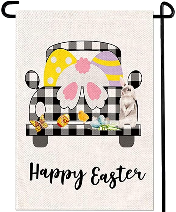 fashion Happy Easter Bunny Truck Garden Flag Black White Buffalo Plaid Check Eggs Chick Butterfly Home Porch Outdoor Decor 12 x 18 Inches