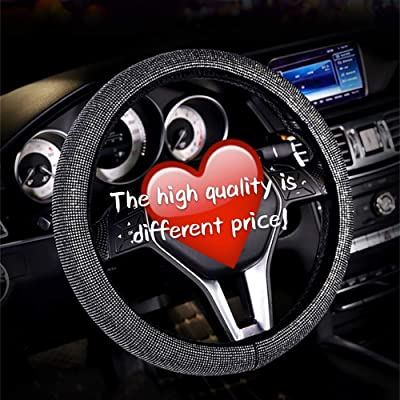 Diamond Crystal Steering wheel Cover for Women - Universal automotive diamond car accessories, Bling Bling Crystal Rhinestone Steering Wheel Cover for Girls Birthday Gifts Golden 15 Inch (38mm): Automotive