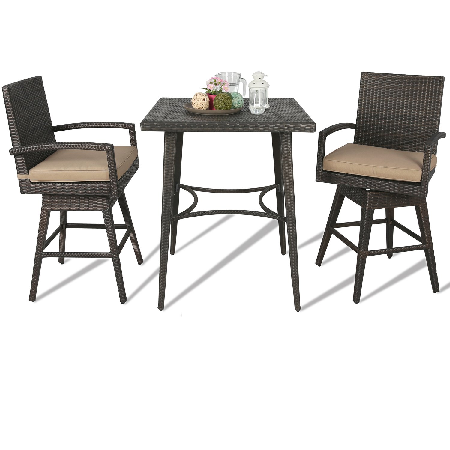 Ulax Furniture Outdoor Patio Wicker Bar Set with Cushioned Swivel Stools, Bar Table x 1, Stool x 2 3Pcs Set