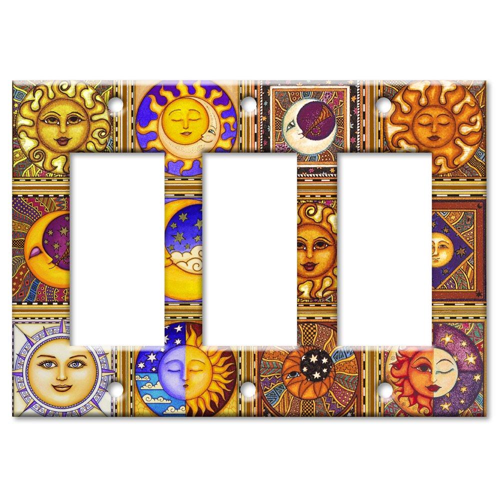 Celestials Theme Metal Wall Plate - Triple Gang Decora