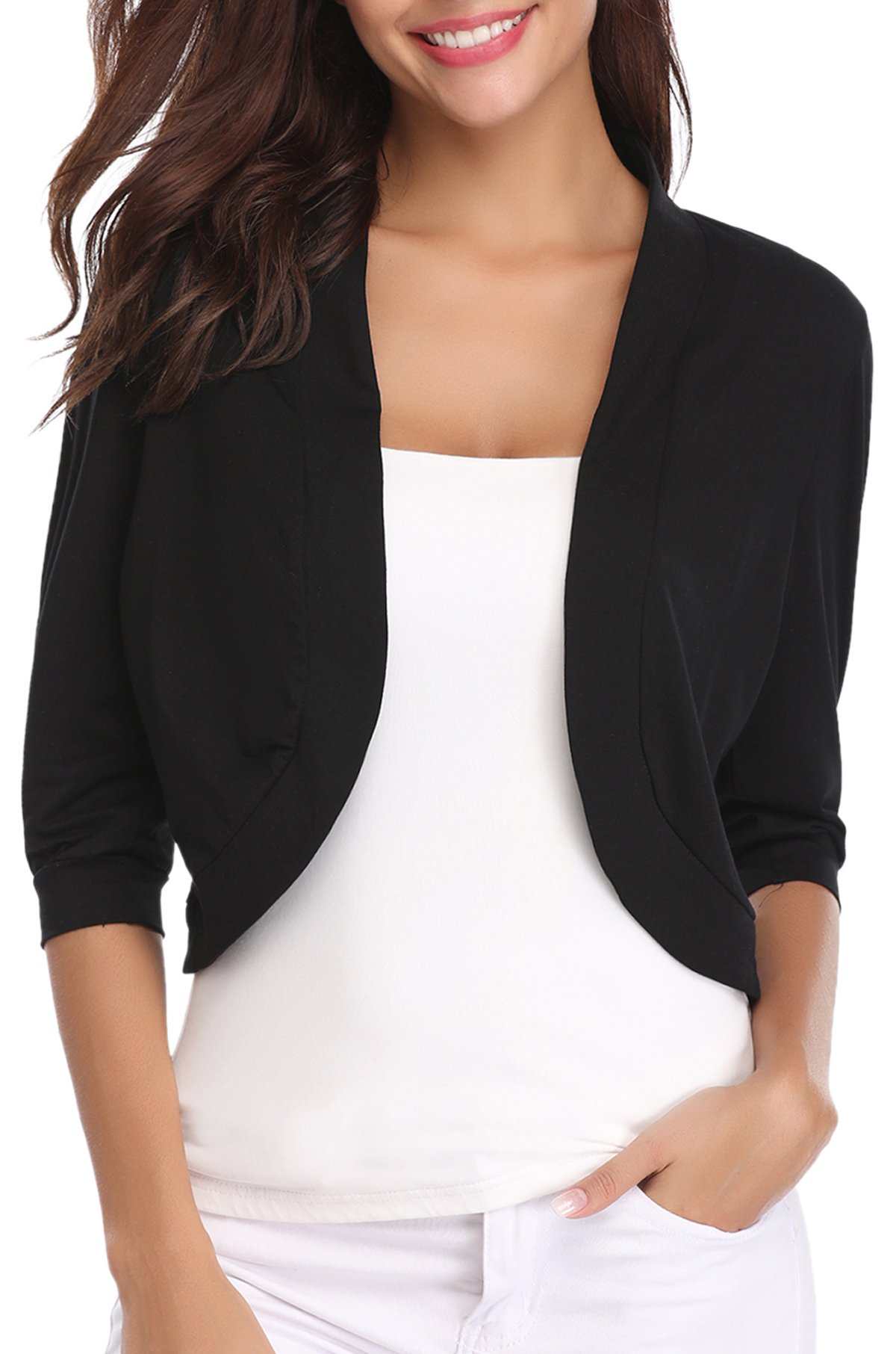 iClosam Women Open Front Cardigan 3/4 Sleeve Cropped Bolero Shrug by iClosam