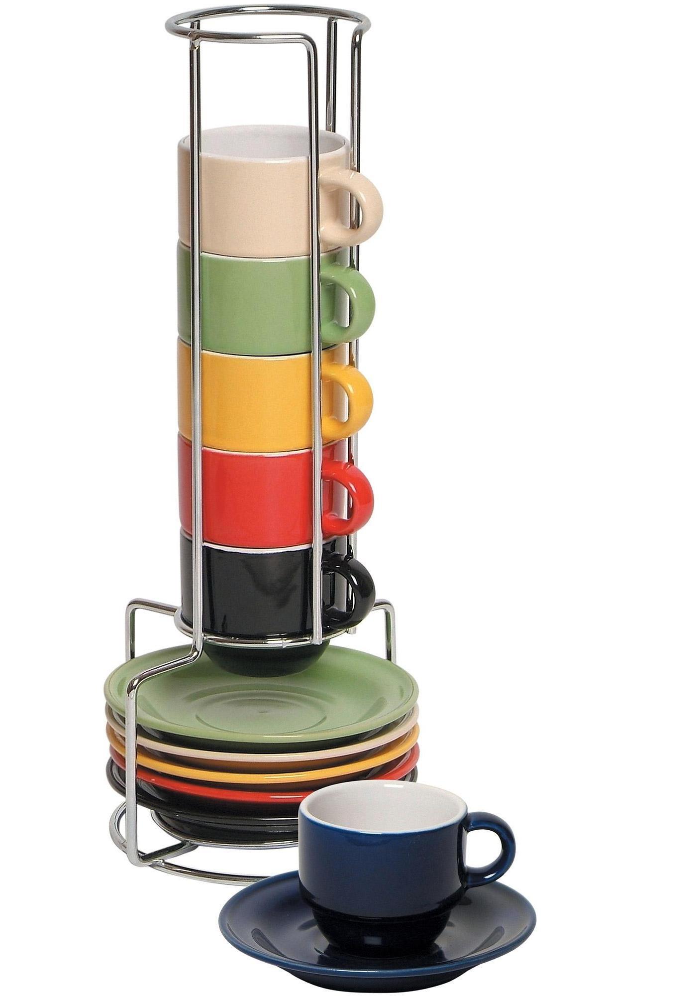 Stoneware Ceramic Espresso Cups Set - 13 Pc Colorful Stacking Espresso Cup and Saucer Set w/Rack
