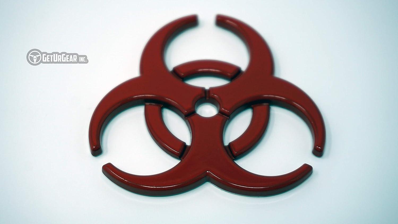 Red GetUrGear 2x 3D Biohazard Metal Radioactive Car Motorcycle Decal Emblem Set