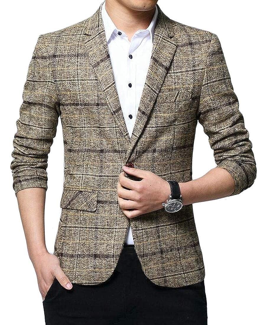 WSPLYSPJY Mens Casual Blazer Slim Fit Plaid One Button Business Suit Jacket Coat