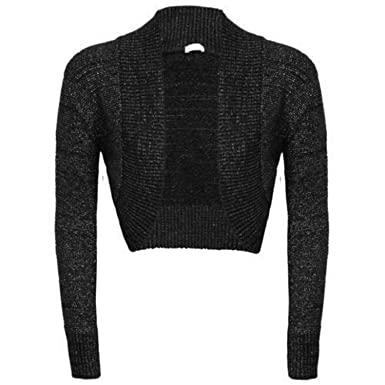 Womens Girls Long Sleeve Knitted Metallic Lurex Shrug Ladies ...