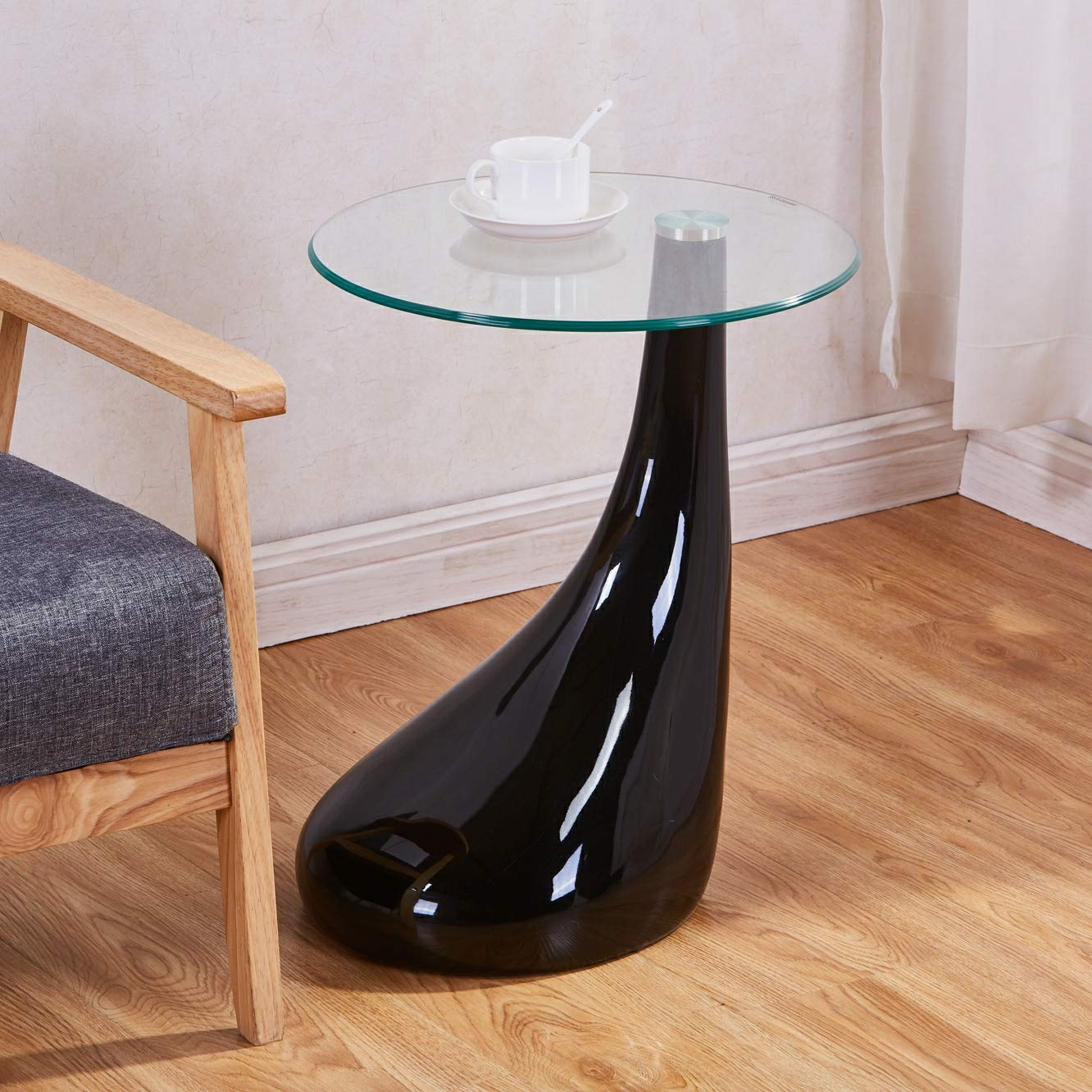 GOLDFAN Coffee Round Table Modern High Gloss Glass Top Drop Table Side End Dinner Table for Living Room Office,Black