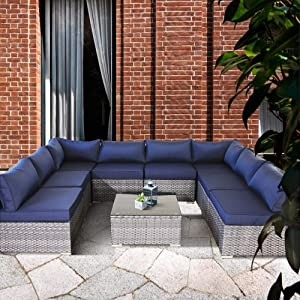 Outime Patio Outdoor Christmas Party Sofa PE Grey Rattan Furniture Set 9pcs Garden Wicker Patio Furniture Navy Blue Cushion Sectional Sofa Conversation Sets