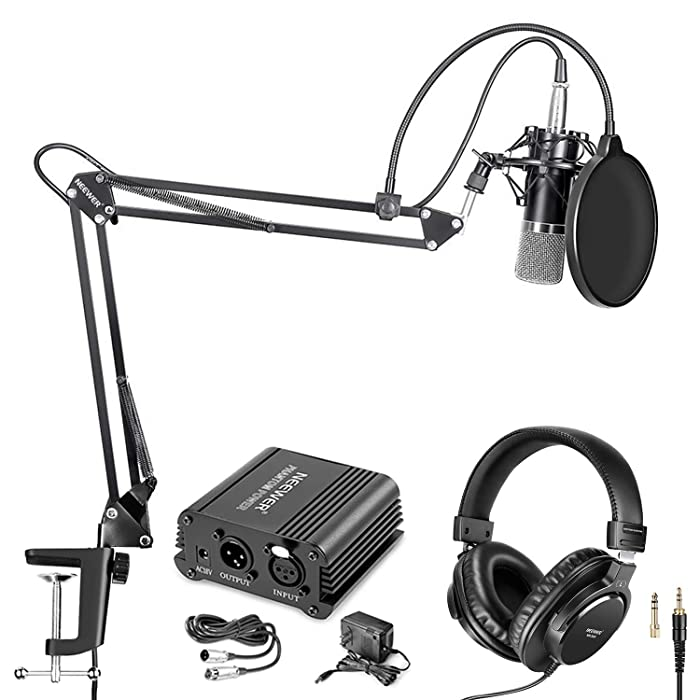 Neewer NW-700 Pro Condenser Microphone and Monitor Headphones Kit with 48V Phantom Power Supply, NW-35 Boom Scissor Arm Stand, Shock Mount and Pop Filter for Home Studio Sound Recording(Black)
