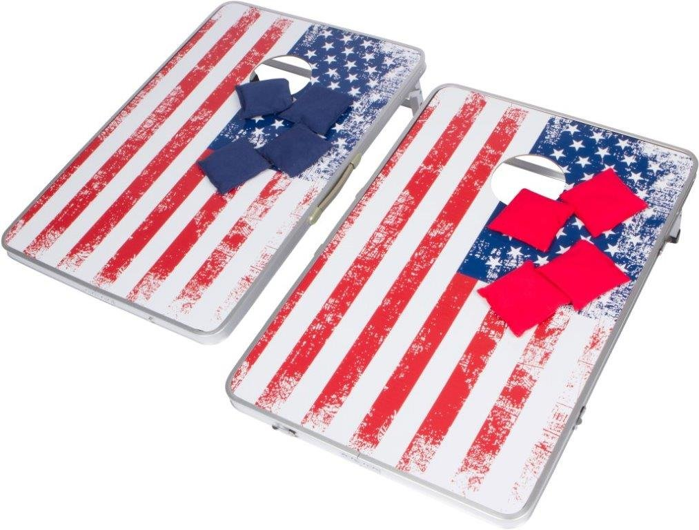 Trademark Innovations 3' Corn Hole & Bean Bag Toss Set - Lightweight & Portable Aluminum - (American Flag, Without Case) by Trademark Innovations