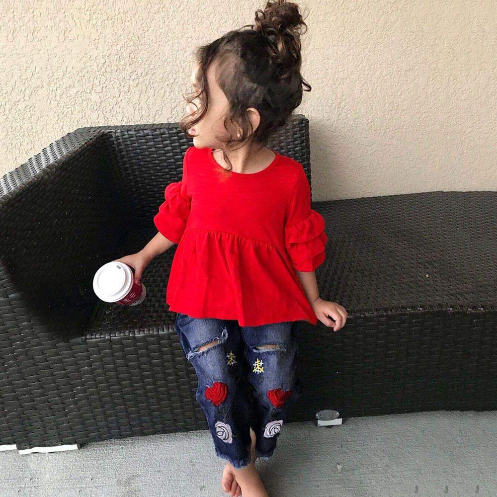 Lucoo Kids Toddler Baby Girls Outfit Clothes Frill T Shirt Tops+Embroidery Denim Pants