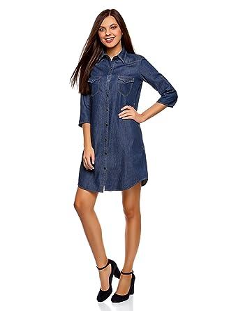 Oodji Ultra Damen Jeanskleid Mit Seitentaschen Amazonde Bekleidung