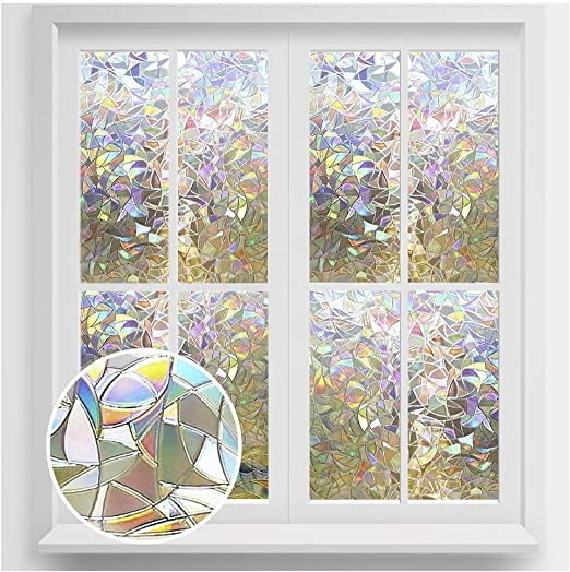 Amazon Com Rabbitgoo Window Privacy Film Rainbow Window Clings 3d Decorative Window Vinyl Stained Glass Window Decals Static Cling Window Sticker Non Adhesive 23 6 X 78 7 Inches Kitchen Dining