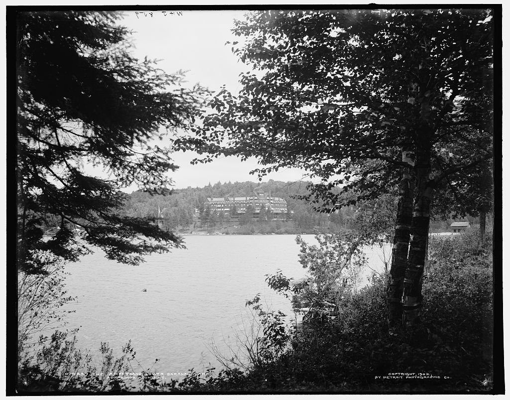 16 x 20 Ready to Hang Canvas Wrap The Ampersand Lower Saranac Lake Adirondack Mountains 1902 Detriot Publishing 30a